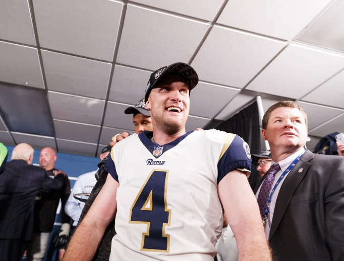 Los Angeles Rams kicker Greg Zuerlein (4) celebrates Jan. 20 inside the locker room after his game-winning field goal in overtime at the NFC championship NFL football game against the New Orleans Saints in New Orleans. The Rams defeated the Saints, 26-23.