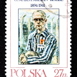 A Polish postage stamp commemorates St. Maximilian Kolbe, a priest martyred at Auschwitz.