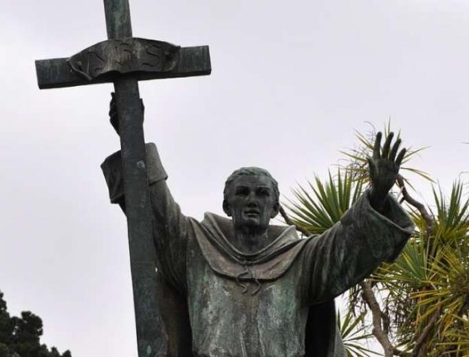 Statue of St. Junipero Serra inside Golden Gate park before it was toppled June 19, 2020.