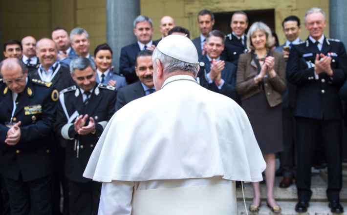 Pope Francis with police chiefs at a meeting of the Santa Marta Group which brings together bishops and police forces around the world to eradicate human trafficking and modern-day slavery.