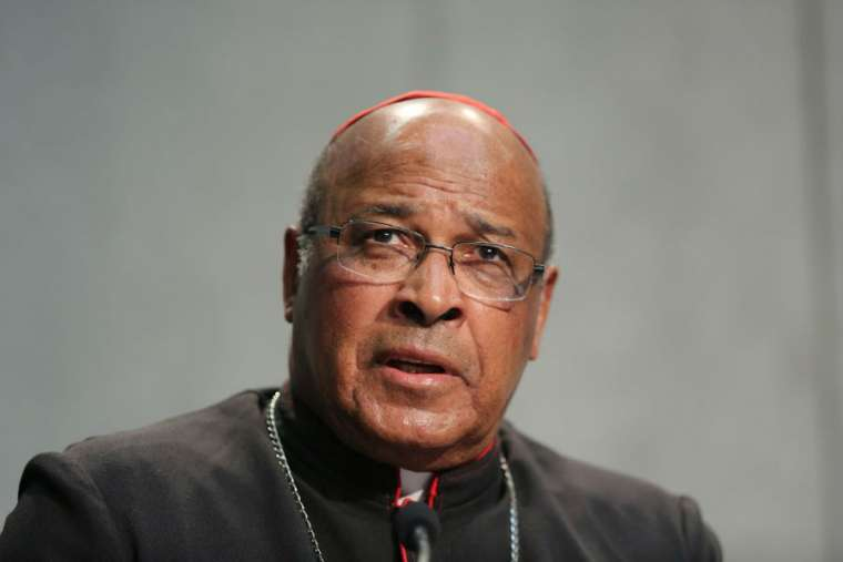 Cardinal Wilfrid Napier of South Africa attends a briefing on the Synod of Bishops Oct. 20, 2015, in the Holy See Press Office.