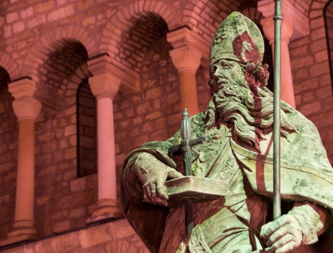 A statue of St. Boniface at St. Martin's Cathedral in Mainz, Germany, is a tribute to the saint who brought Christianity to Germany.