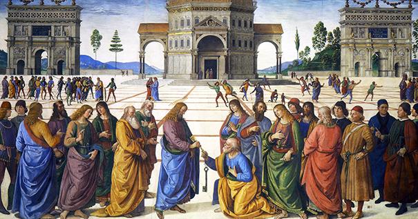 """Pietro Perugino (1448–1523), """"Christ Handing the Keys to Saint Peter"""""""