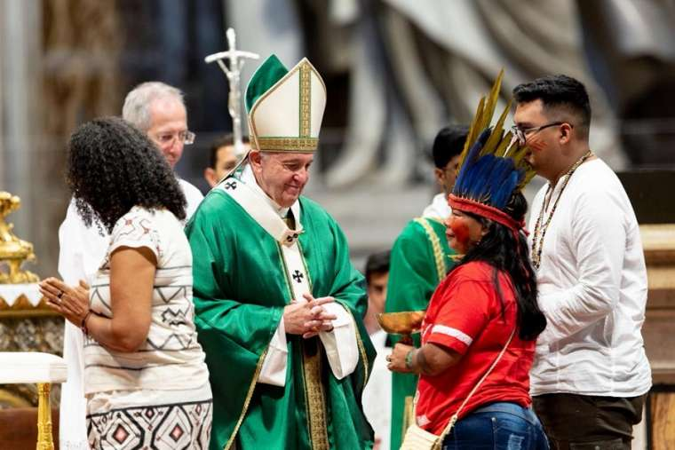 Pope Francis presides at the opening Mass for the Amazon synod Oct. 6.