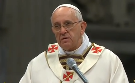 Pope Francis delivering his Chrism Mass homily this morning in St. Peter's basilica.