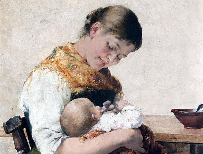 """Georgios Jakobides (1853-1932), """"Maternal Affection"""""""