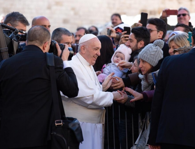 Pope Francis greets the faithful after Mass in Bari, Italy, Feb. 23, 2020