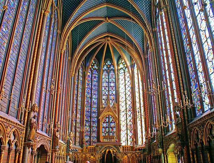 The upper chapel of Sainte Chapelle in Paris.