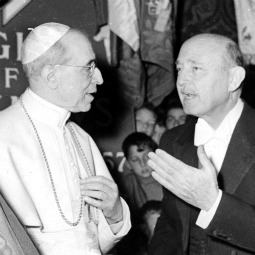 Pope Pius XII talks with Count Enrico Galeazzi, the director of the Knights of Columbus in Rome, in this undated photo in an exhibit at the Capitoline Museum in Rome on the activities of the Knights of Columbus in the eternal city.