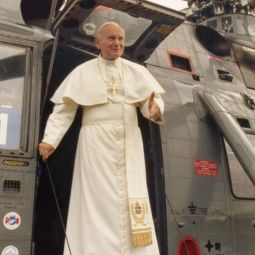 Pope John Paul II steps from a helicopter in Oslo, Norway, during a tour of Scandinavia in June 1989.