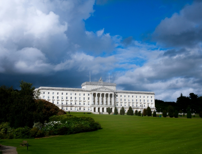 The devolved assembly in Northern Ireland, the Executive Parliament buildings in Stormont, Belfast, are shown, is suspended, meaning the bill liberalizing abortion should pass into law in October.
