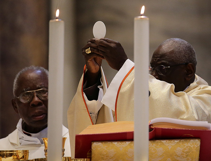 Cardinal Robert Sarah celebrates Mass in St. Peter's Basilica on the occasion of the 50th anniversary of his ordination to the priesthood, Sept. 28, 2019.