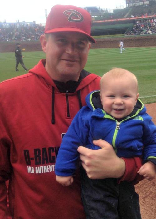 Arizona Diamondbacks pitcher Joe Thatcher and his son, Jack.