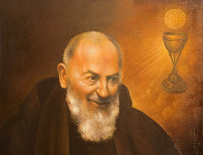 This portrait of St. Pio by an unknown artist of  the 20th century is displayed in the church of the Capuchin convent (Iglesia Santo Anchel) in Cordoba, Spain.