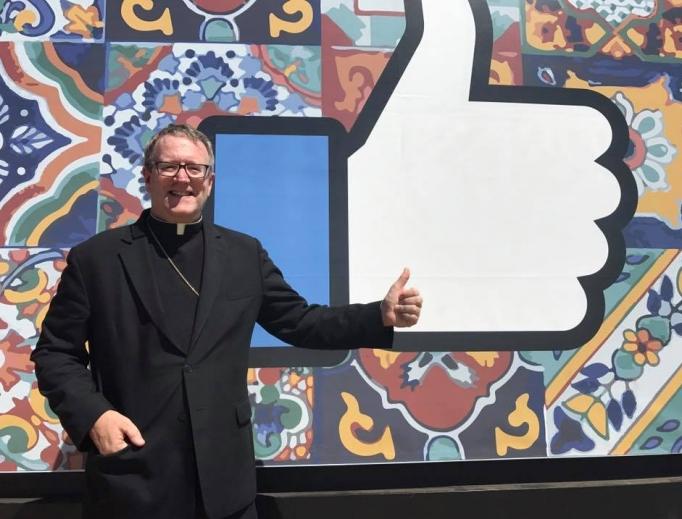 Bishop Robert Barron visits the headquarters of Facebook.