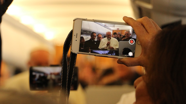 Pope Francis speaking to reporters on the papal plane this afternoon on his way to Armenia for a three day visit.