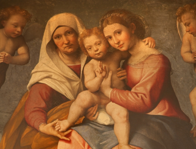 Saint Anne with the Madonna, and the child Jesus by Francesco Caroto from San Fermo Maggiore, 1528.