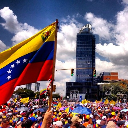 Protesters demonstrate peacefully against the government in Caracas, Venezuela, on Feb. 12.