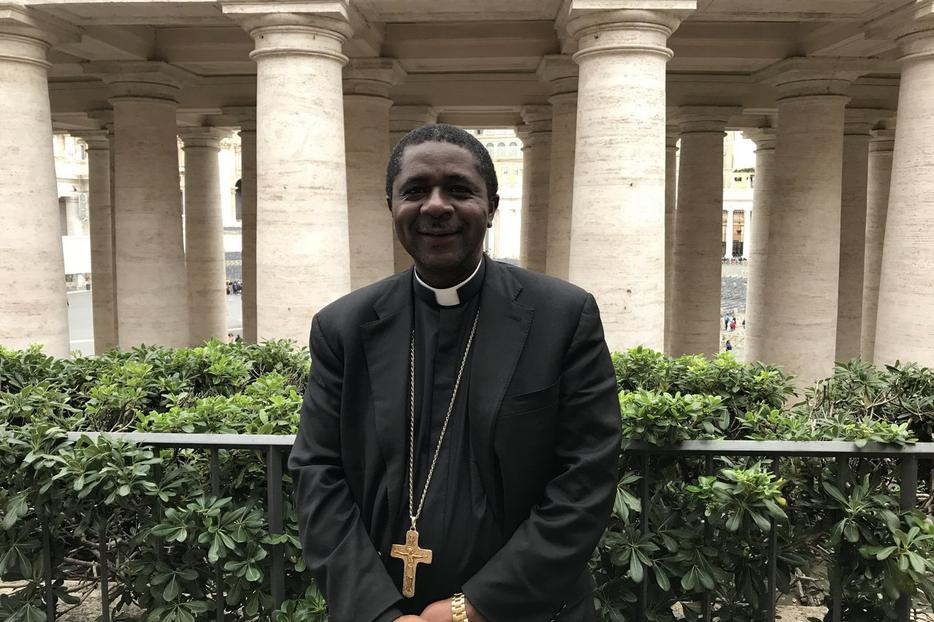 Bishop Andrew Nkea Fuanya of Mamfe, Cameroon, outside St. Peter's Square, Oct. 22, 2018.