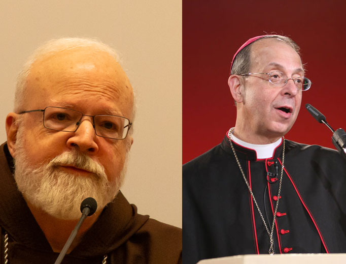 Cardinal Seán O'Malley of Boston (l) has followed the leadership of Archbishop William Lori of Baltimore (r) in bishop-accountability measures for his archdiocese.