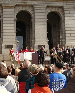 Colorado State Sen. Ted Harvey addresses the Rally to Protect Marriage in Denver Jan. 26.