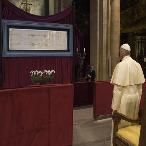 Pope Francis venerates the Shroud of Turin inside the Cathedral of St. John the Baptist in Turin, Italy, on June 21, 2015.