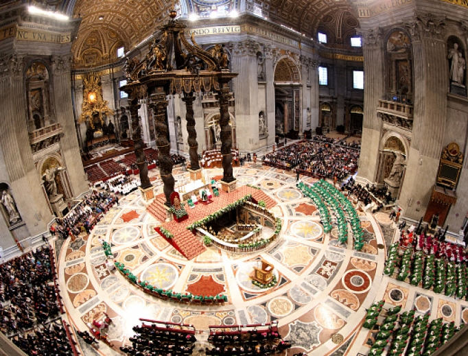 A general view of St. Peter's Basilica during the opening Mass of the Synod of Bishops on the Pan-Amazon Region on Oct. 6 at the Vatican.
