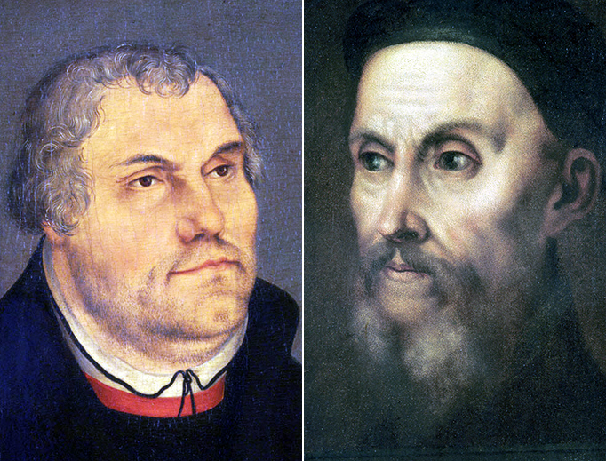 LEFT: Workshop of Lucas Cranach the Younger, 'Portrait of Martin Luther', 1555. RIGHT: Titian, 'Portrait of Jean Calvin', 16th century.