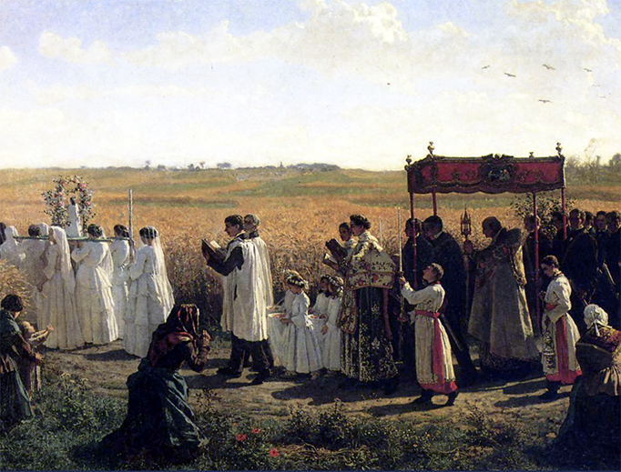 "Jules Breton, ""The Blessing of the Wheat in Artois,"" 1857"
