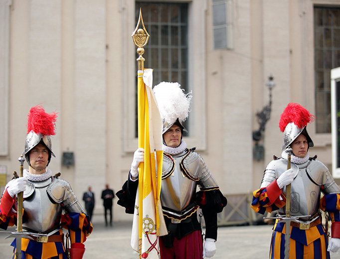 Swiss Guard at Pope Francis' Easter Sunday Mass in St. Peter's Square on April 16, 2017.