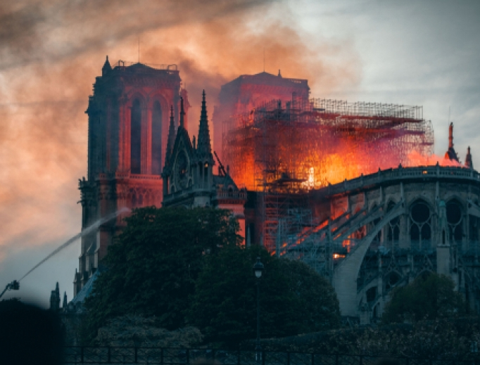 The Cathedral of Notre Dame during the fire, April 15, 2019.