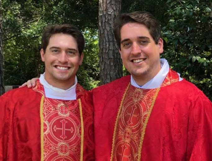 Father Connor (left) and Father Peyton Plessala.