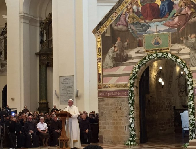Pope Francis visits the Porziuncola chapel inside the papal Basilica of St. Mary of the Angels in Assisi to commemorate the 800th anniversary of the 'Pardon of Assisi.'