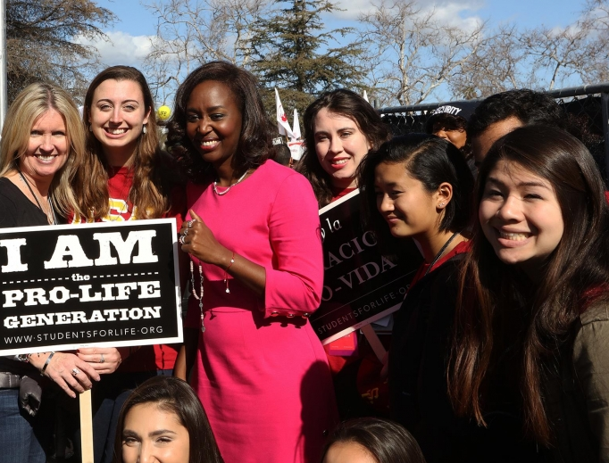 Immaculée Ilibagiza with pro-lifers at OneLife LA Jan. 21.