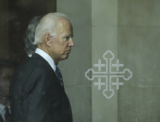 Former Vice President Joe Biden enters the Washington National (Episcopal) Cathedral for the funeral service of Senator John McCain, Sept. 1, 2018, in Washington, DC.
