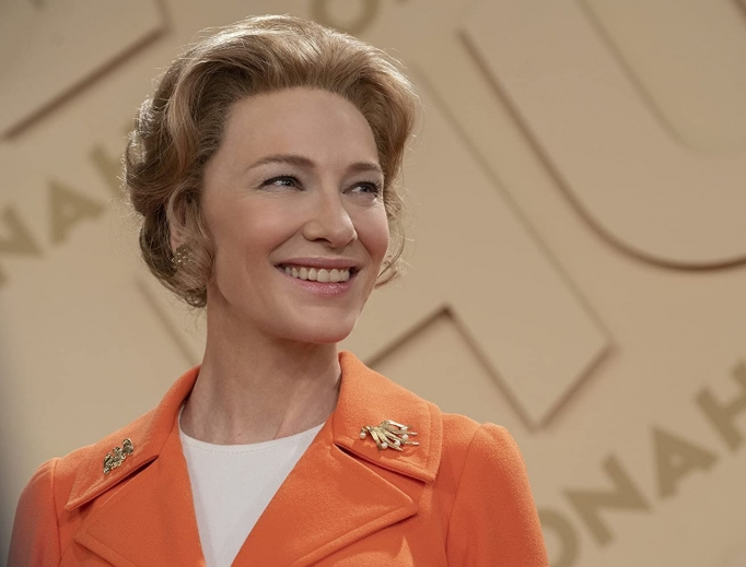 Above, Cate Blanchett portrays Phyllis Schlafly in Mrs. America; inset: Phyllis Schlafly (l) and Kristan Hawkins, president of Students for Life of America, smile together.