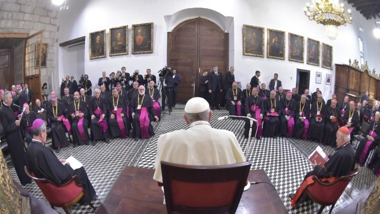 Pope Francis meets with the Chilean Bishops in Santiago, Chile, January 2018.