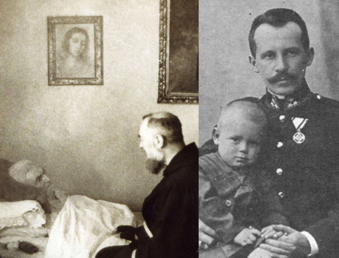 The elder Karol Wojtyla, above right, showed his son an example of faithful devotion, as did Orazio Forgione (upper left), father of Padre Pio.