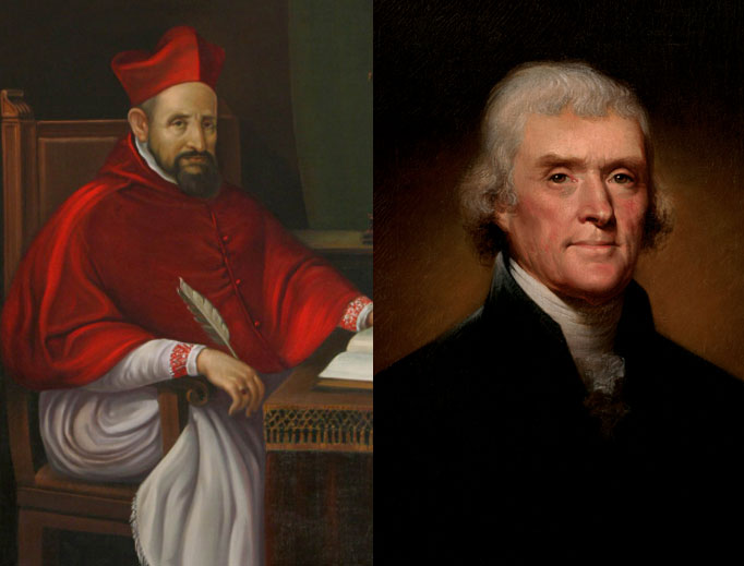 St. Robert Bellarmine (l) and Thomas Jefferson