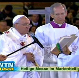Pope Francis celebrates Mass at the National Shrine of Our Lady of Aparecida during the 28th World Youth Day.