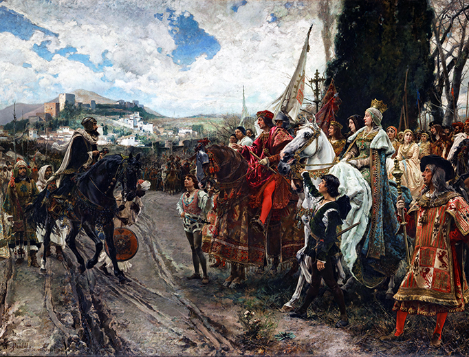 Crusades don't just head eastward; this 1882 painting by Francisco Pradilla Ortiz depicts the capitulation of Granada.