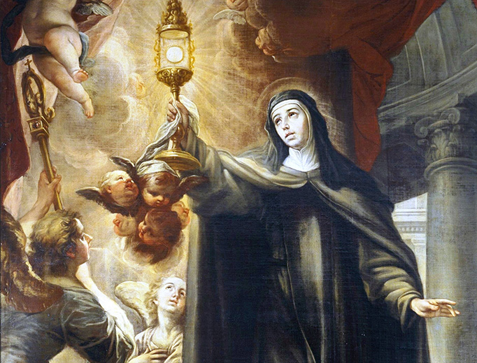"""Isidoro Arredondo, """"Saint Clare Driving Away the Infidels with the Eucharist,"""" 1693"""