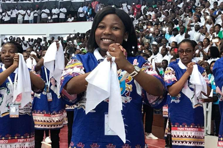 Youth perform a dance in the Maxaquene Pavilion in Maputo before the arrival of Pope Francis Sept. 5.