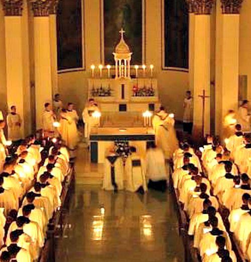 Seminarians attend Mass at St. Charles Borromeo Seminary in Philadelphia.
