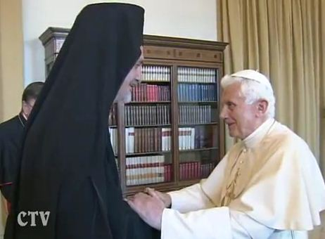 Benedict XVI receiving a member of a delegation from the Ecumenical Patriarchate of Constantinople June 28th. The delegation have been making their traditional visit to Rome for the Feast of Saints Peter and Paul.
