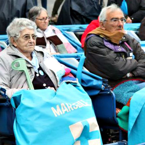 Sick and elderly persons at the Basilica of Our Lady of Lourdes.