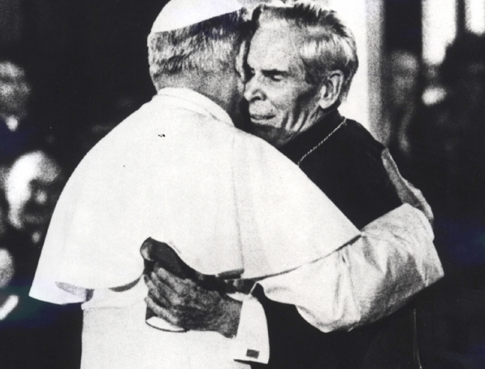 Pope John Paul II and Archbishop Fulton Sheen hug at St. Patrick's Cathedral in New York City, October 2, 1979.