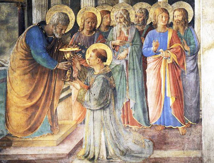 """Fra Angelico (circa 1395-1455), """"The Seven Deacons."""" St. Stephen is kneeling; Sts. Prochorus, Nicanor, Timon, Parmenas, and Nicholas of Antioch are also depicted, along with St. Philip the Evangelist."""