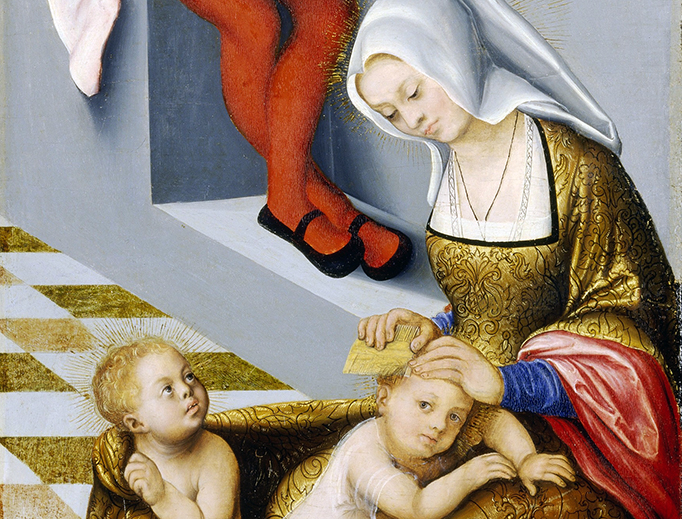 "Lucas Cranach the Elder (1472–1553), ""The Altarpiece of the Holy Kinship or Torgau"" — detail of Salome"