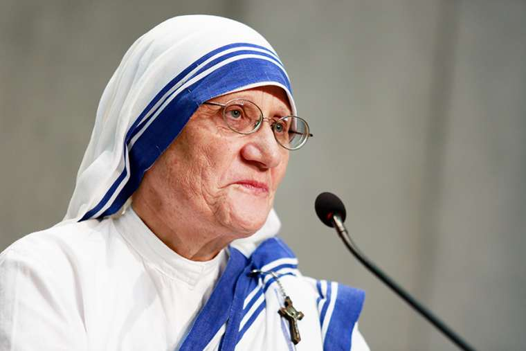 Sister Mary Prema Pierick, superior general of the Missionaries of Charity, speaks at the Vatican, Sept. 2, 2016.
